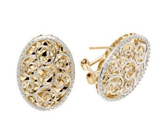 14K Two-Tone Diamond-Cut Oval Earrings, Oval Earrings, Diamond-Cut Earrings, 14K Gold Earrings, Gold Earrings, Fancy Earrings