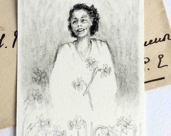 Original ACEO charcoal drawing Woman and daffodils black white