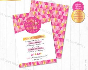 Gold & Pink Geo Printable Invitation