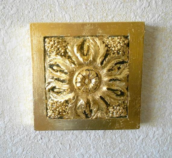 Gold Square Wall Decor : Decorative wall artsquare antiqued gold artgold frame