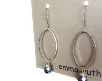 Silver Earrings Boho Dangle Earrings Rustic Oval Hoop Earrings Hoops Stone Earrings Silver Earrings Rustic Boho Earrings