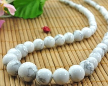 15 inches of  White Howlite smooth round tower necklace,DIY handmade wholesale beads in 4-12mm