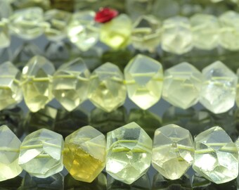 15.5 inches of Lemon Quartz faceted nugget beads in 10x13mm-12x18mm
