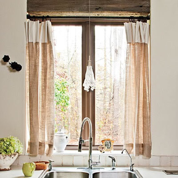 Burlap Striped Valances 36''x 46'' Two Valances By TheNewHome