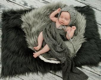 Newborn knit alpaca pixie bonnet