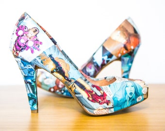 Iron Man Comic Book Heels. Tony Stark. Avengers. Custom Made to Order One of a Kind Shoes