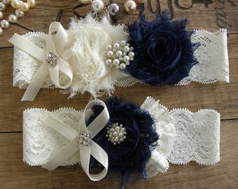 Something Blue / Ivory & Navy Blue Wedding Garters / Garter / Bridal Garter / Toss Garter / Vintage Inspired / Garter Set