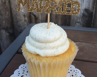 Just Married Cupcake Toppers