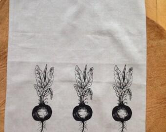 Screen Printed Black Beets onto 100% Natural Linen Tea Towel, Hostress Gift, Wedding Gift, House warming gift