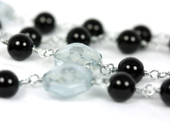FREE US Shipping! Black and Grey Rosary, Black Glass Pearl and Etched Glass Rosary, Black Rosaries, Handmade Rosary, Wire-Wrappd Rosary