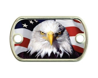 American Tough Eagle 2 Holes Stainless Steel Mini Dog Tag For Paracord Bracelets