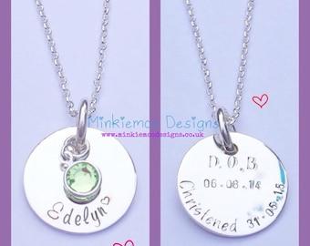 Christening necklace, personalised, birthstone crystal, christening date, keepsake christening gift, babygirl gift, naming ceremony gift
