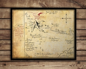 The Hobbit,Thorin's Map, Map of Erebor, Thrór's Map, fan art, Lord of The Rings map, canvas print