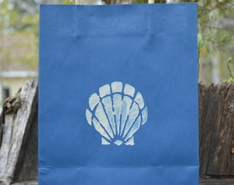 Seashell Gift Bag- Navy Bag- Coastal- Beach- Destination Wedding