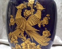 """Vintage KAISER PORCELAIN Cobalt and Gold decorated """"Symphonie"""" by  Nossek Vase with Birds and Flowers"""