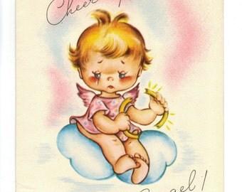 Vintage UNUSED ENCOURAGEMENT Card Angel on Cloud Cries Over Broken Halo Cheer Up 1940's