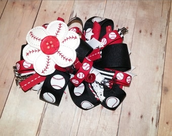 Funky and Loopy Red and Black Baseball Bow