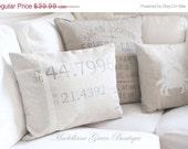 "12""x16"" Linen Nautical Hand Painted Longitude & Latitude Pillow Cover"