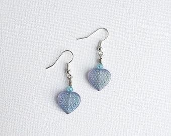 ON SALE Blue Heart Earrings