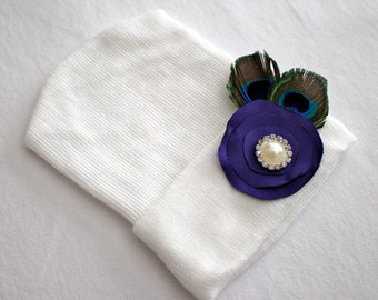 Newborn Beanie Hat, Cotton, Hospital Hat, Peacock Feathers with Lollipop Satin Flower and Pearl and Rhinestone Accent