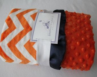 Orange and White Chevron with Orange Minky Dot on Reverse, Finished with a Navy Satin Trim, Girls, Boys, Baby, Nursery