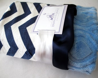 Navy and White Chevron with Baby Blue Embossed Marquise on Reverse - Baby Blanket - Baby Girl, Crib Bedding, Infant and Toddler, Nautical