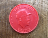 Vintage 1959 Armour Baseball Coin - Hank Aaron - Milwaukee Braves Outfielder