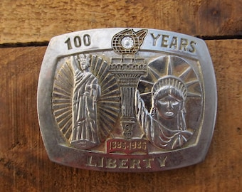 Vintage Lady Liberty Buckle - Statue of Liberty 100 Years 1886-1986 Belt Buckle