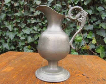 Vintage Finstain Pewter Art Nouveau Pitcher- Bird handle Pitcher