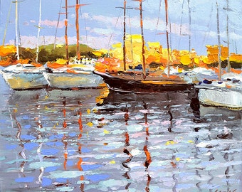 At the berth - landscape OIL PALETTE KNIFE on canvas Painting by Dmitry Spiros. 32x24 in. 80 x 60 cm