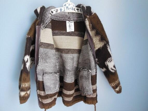 Vintage Wool Blanket Sweater Jacket Ruminahui Ecuador Hoodie