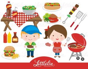 BBQ party clipart - grill clipart - hamburger clipart - 15015