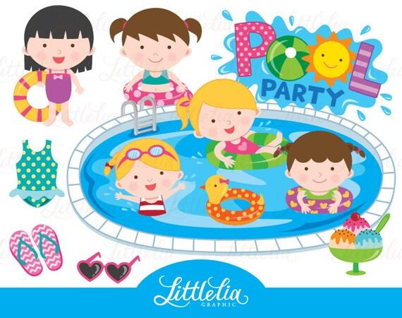 Schwimmbad comic kinder  Mädchen Schwimmbad Partei Clipart Schwimmbad Partei Clipart