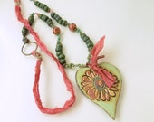 BACK2SCHOOL SALE!   Daisy-in-heart necklace, pottery pendant, lampwork beads, hand-made, artisan beads, OOAK