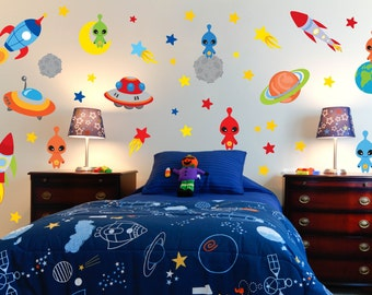 Space Theme Wall Decals - Outer Space Room - Alien Wall Decals - Rocket Wall Decals - Boys Room Decals