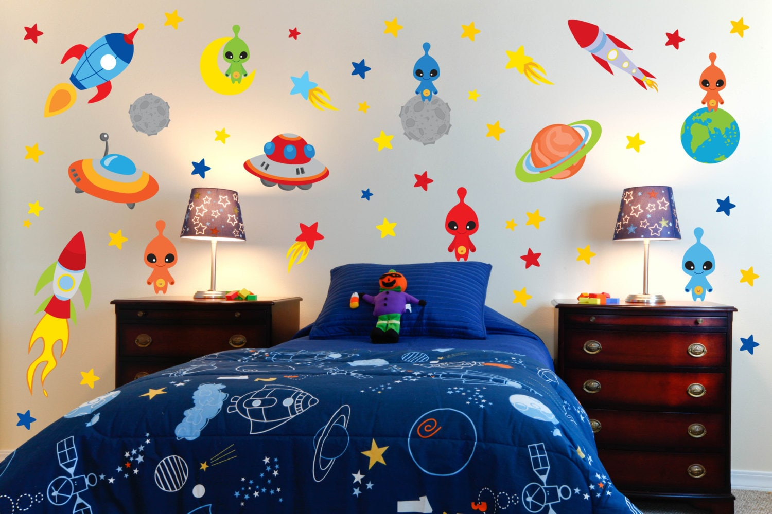 100 outer space wall mural 3d solar earth planets unvierse outer space wall mural space theme wall decals outer space room alien wall decals