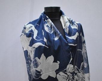 Vintage printed SILK scarf , long silk scarf ...(789)