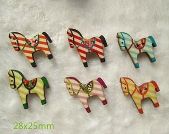 Wholesale lot  30pcs   stripe horse  Wood button ,SCRAPBOOKING SUPPLIES,  28x25mm
