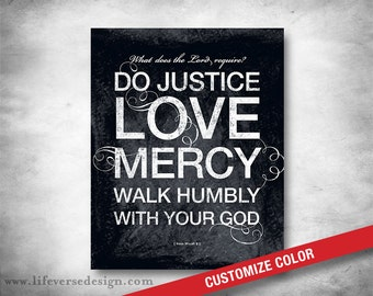 Micah 6:8 Do Justice Love Mercy Scripture Art - Inspirational Quote - Bible Verse Subway Art - Christian Home Decor - Mercy - CUSTOM COLOR