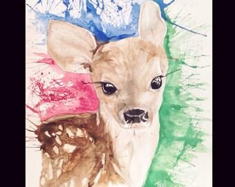 Colorful Deer 9x12 watercolor painting