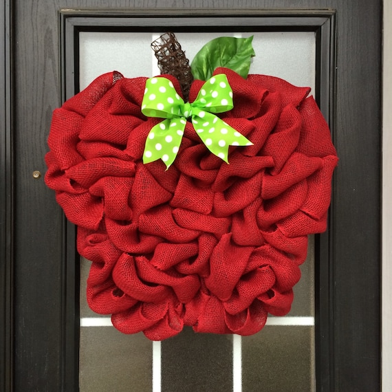 Burlap Apple Wreath Red Apple Door Hanger Made With Looped