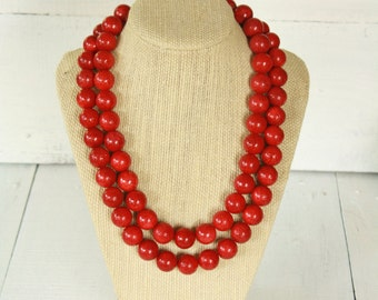 Handmade Red Bamboo Coral Double Strand Necklace