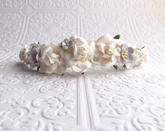 The Silver and White Goddess Floral Crown