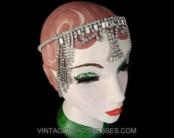 Art Deco Chain Drape Headpiece, Vintage Egyptian Headpiece,1920's Flapper Headband, Great Gatsby Headpiece, Statement Bridal Band, Wedding