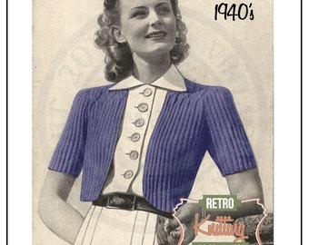 1940s beginners Bolero Knitting Pattern - PDF Instant Download