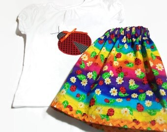 Toddler Girl Outfit, Girls Skirt and Top, Girls Ladybug Top and Ladybug Skirt Set, Girls Birthday Party Outfit, Girls Fashion