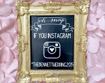 Instagram Sign / Gold Frame Wedding Sign / Instagram Sign / Gold Frame Chalkboard / Wedding Chalkboard /Ornate Frame