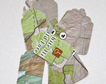 Small Adirondack Map Tags, Adirondack Map, Adirondack Tags, Adirondack Bookmarks, Adirondack Map Bookmarks, Traveler's Tags, Wedding Tags
