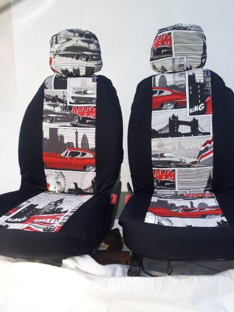 modernist pair of car front seat covers retro english classic print. Black Bedroom Furniture Sets. Home Design Ideas