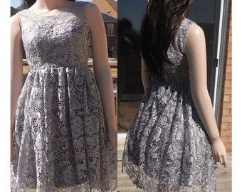 Grey bridesmaid dress, rustic bridesmaid dress, gray lace bridesmaid dress
